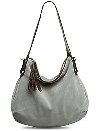 CASPAR Damen Handtasche / Schultertasche / Shopper / aus weichem NAPPA LEDER - viele Farben - TL610, Farbe:hell grau CASPAR Fashion