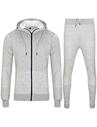 6d0ef990bece Love My Fashions Mens Tracksuit Set New Contrast Cord Fleece Hoodie Top Bottoms  Jogging Zip Joggers