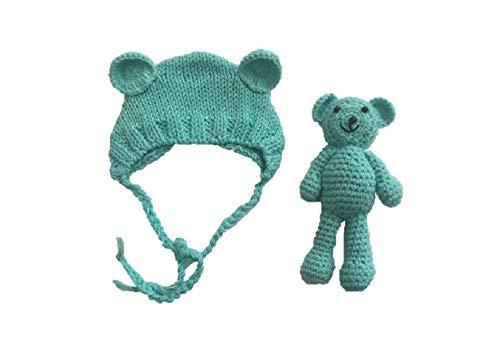 Matissa Neugeborenes Baby häkeln Strick Kostüm Fotografie Prop Baby Bär Hut und Puppe Set (Blau)