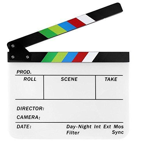 JOYOOO Acryl Schindel Dry Erase Director Film Film-Scharnierventil Cut Action-Szene Clapper Board Slate mit bunten Sticks 9.6 * 11.7