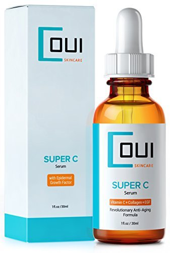Super C Serum - Best Collagen Skin Care for Face and Eyes a Breakthrough in Anti Aging - With Vitamin C EGF Marine Kelp Hyaluronic Acid - Effective Wrinkle and Acne Scar Treatment