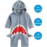 WANTU Boys Girls Shark Swimsuit Sun Protective Rash Guard One-piece (M)