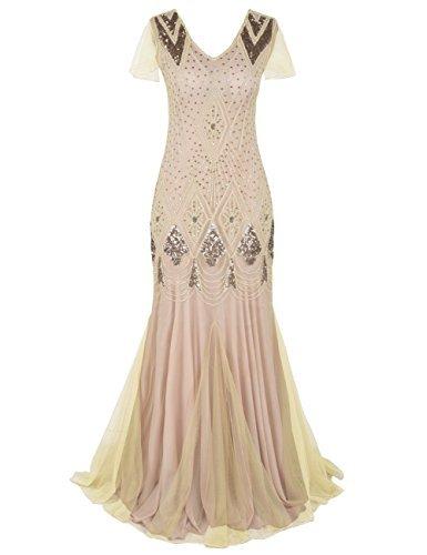 Kayamiya 1920er Jahre Lange Abschlussball Kleid Wulstig Pailletten Art Deco Formell Abendkleid Mit Hülse L Champagner - Lange Bling Kleider Prom