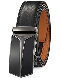 GFG Cinturón de cuero para hombres con hebilla automática ... 2474d48c47df