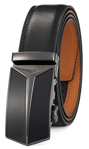 GFG Cinturón de cuero para hombres con hebilla automática 35mm Ancho-0016-110-Negro