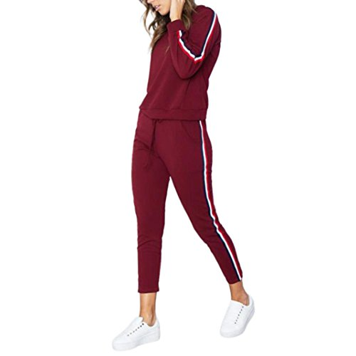 Trainingsanzug Damen, DoraMe Frauen Streifen Kapuzenpullover Sport Anzug Hoodies Sweatshirt Top + Hosen Sets Sport Tragen Beiläufige Zweiteiler (Rot, S) (Blau-streifen-wolle-anzug)