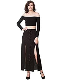 TEXCO Black Off Shoulder Long Sleeve Crop Top 7760223db