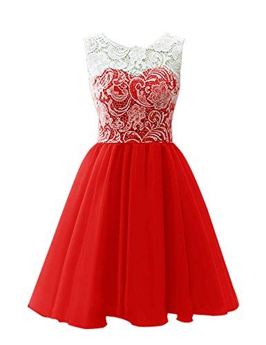 Dresstells, Robe de demoiselle d'honneur Robe de bal courte en tulle et dentelle longueur genou Rouge