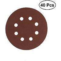 UEETEK 40pcs 8 agujeros discos de lijado de 5 pulgadas alrededor de 60 80 120 210 granos para Bosch PEX 220/300 lijadora orbital aleatoria de 125 mm