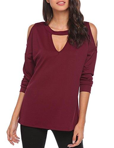 Meaneor Donna Camicetta Blusa T-shirt Maglia Manica Lunga Casual Elegante Cotone Sexy Ufficio V-collo Rosso