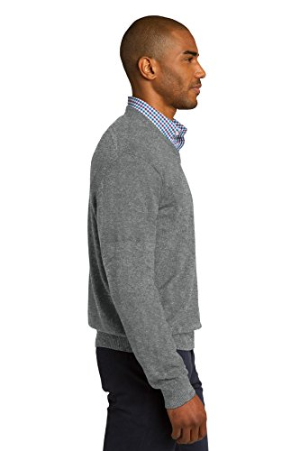 Autorité portuaire Men's confortable-Pull à col en V côtelé Gris - Medium Heather Grey