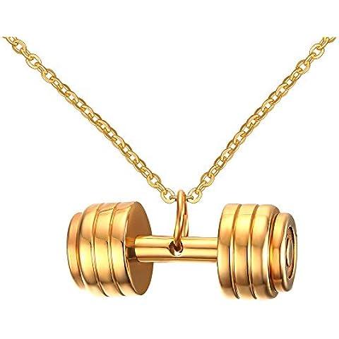 LianDuo Acciaio inossidabile manubri bilanciere della collana del pendente Gym Fitness monili delle donne,la catena libera