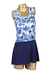 Printed Top with Navy Blue attached skirt