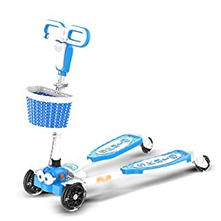 CMXIA Kinder-Frosch-Roller-Schere mit 4 Rädern Auto-Dia 4 Runden von Musik-Blitz 3-6 Jahre altes Baby-Baby-Vierrad und Schutzausrüstung Set von 6 (Color : Blue)