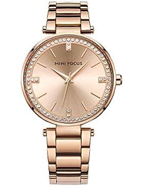longqi Armbanduhr Casual Business Edelstahl Träger Handgelenk Uhren mit Strass Damen Kleid Armband rose gold