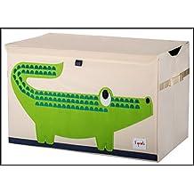 ✮ 3Sprouts ✮ Premiumqualität zu Spielzeug für Kinder 100% Polyester | Aufbewahrungskiste | weiß ecru und grün–Motiv: Krokodil | Maße: 62x 37x 38cm | Struktur verstärkte–Deckel–2Ärmelbündchen seitliche | sehr große Qualität, Original und sehr praktisch