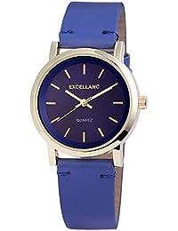 Excellanc llanc Analog Mujer reloj, piel, 34mm de diámetro Azul–195003100204