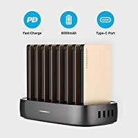 Powerology 8 in 1 Power Bank Station 8000mAh With Built-in Cable, Portable Power Bank and 1 Rapid Recharging Station Compatible iPhone Devices, Android Devices, Type C Charging Ports (Gold)