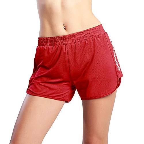 Ogeenier Damen Mesh Sports Training Shorts Laufhose Trainingshose Fußballshorts Leicht mit Futter -