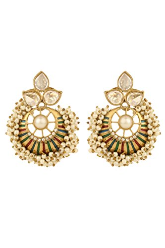 Dilan Jewels PURE Collection Antique Copper Look Multicolour Polki Pearl Chandbali Earrings For Women