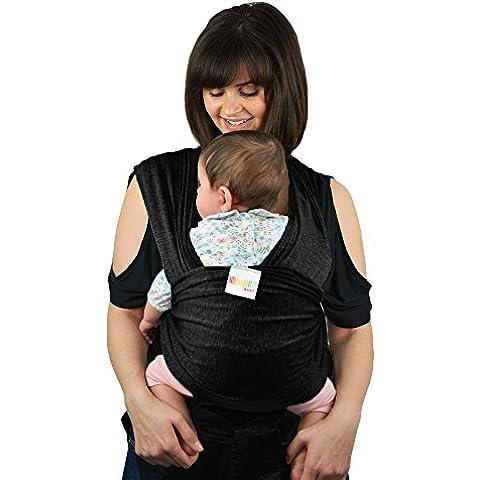Premium Baby eslingas Carrier algodón Natural original Baby Wrap | múltiples posiciones suave y ligero–para bebés recién nacidos de nacimiento | negro
