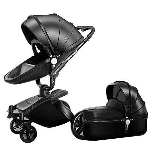 LLX Alta Passeggino In Pelle A Due Vie Auto A 360 Gradi Pieghevole Ammortizzatore Può Sedersi Baby Car (2 In 1: Sedile + Cesto Letto),Black