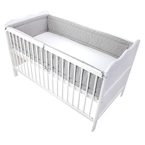 TupTam Baby Nestchen für Babybett Gemustert, Farbe: Sterne Grau 2, Größe: 420x30cm (für Babybett 140x70)