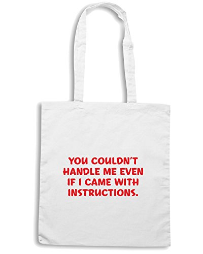 T-Shirtshock - Borsa Shopping CIT0256 You couldn t handle me even if I came with instructions! Bianco