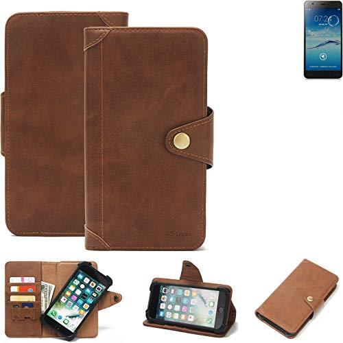 K-S-Trade® Handy Hülle Für Jiayu S3+ Schutzhülle Walletcase Bookstyle Tasche Handyhülle Schutz Case Handytasche Wallet Flipcase Cover PU Braun (1x)
