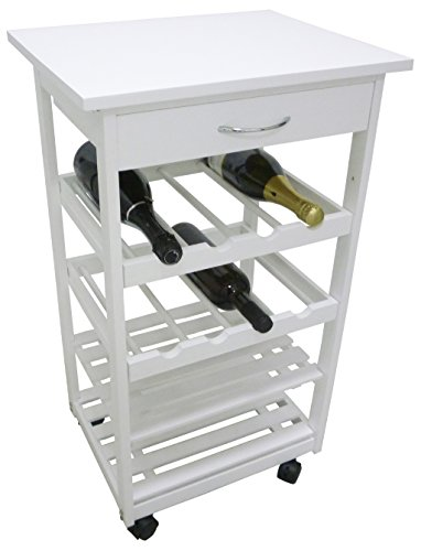 Mobiletto porta bottiglie carrello cantinetta da cucina in legno bianco con cassetto e ruote autobloccanti
