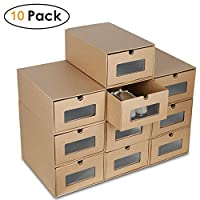 "Blackpoolaluk 20PCS Shoe boxes,Drawer Type Stackable Shoe Storage Box DIY Visible Cardboard Shoe Organiser Box for Ladies - 12""x8.6""x7.5"" (10 PCS)"