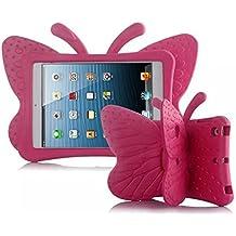Funda infantil para iPad mini, con diseño de mariposas, a prueba de golpes, material EVA no tóxico.  rosa (b)