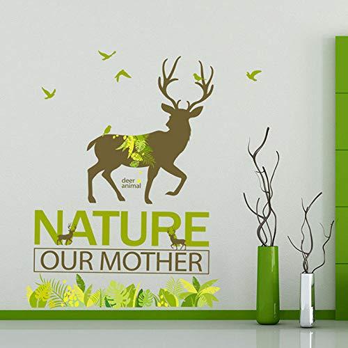 Wandaufkleber Cartoon Forest Deer Schützen Natur Green Grass Wohnkultur Kunst Aufkleber Dekoration Für Bar Wohnzimmer Wandbilder -
