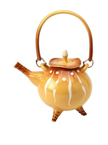 ATD® 61667 6 1/8 Inch Rattan Yellow Round Teapot with Legs Crumb-scraper