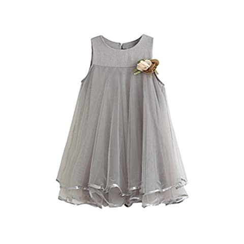 WINWINTOM Girl Chiffon Sleeveless Drape Dress + Brooch (140, Gray)