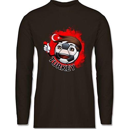 EM 2016 - Frankreich - Fußballjunge Türkei - Longsleeve / langärmeliges T-Shirt für Herren Braun