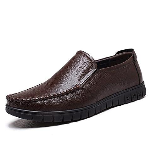 Männer Casual Flat Loafers Fashion Slip Auf Fahren Schuhe,Brown-38