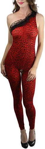 ToBeInStyle Women's One Shoulder Footless Leopard Bodystocking - RED/BLACK (Footless Bodystocking)