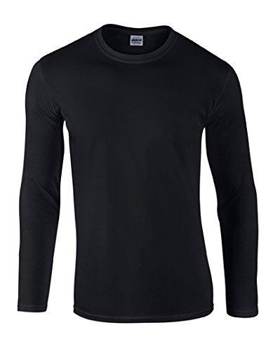 GILDAN Herren Soft Style Lforwardslashsleeve T-Shirt, Schwarz, XL