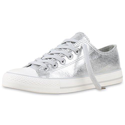 Sportliche Unisex Sneakers | Low-Top Modell | Basic Freizeit Schuhe | Stoffschuhe Silber Silber