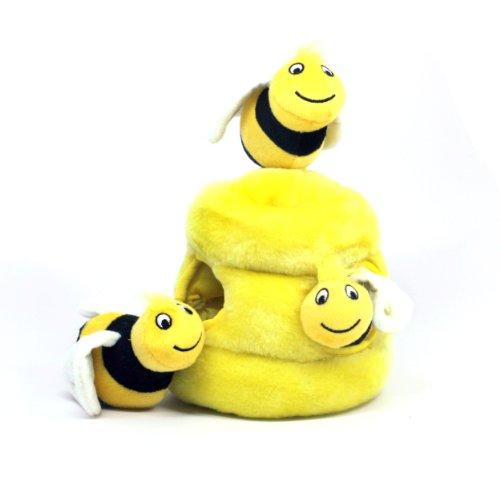 Artikelbild: Outward Hound Kyjen 31010 Hide A Bee Hundespielzeuge Interaktives 4-teiliges Plüsch-Quietschspielzeug, Größe L, Gelb