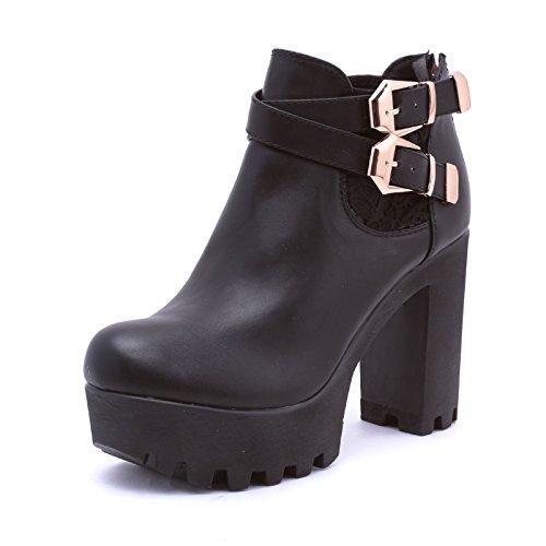 Mforshop scarpe stivaletti tronchetto donna carrarmato track shoes pizzo estivi ly1390-6 - nero, 39