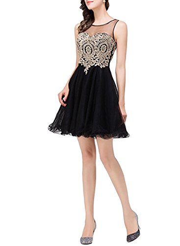 Azbro Women's Sleeveless A-line Cocktail Bridesmaid Dress Black
