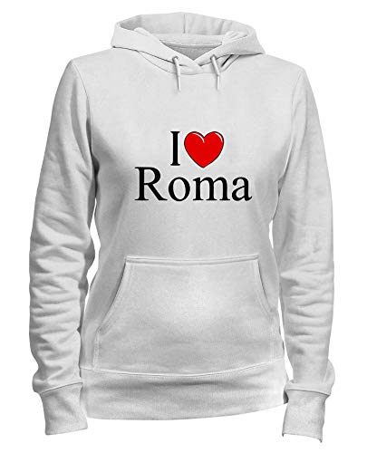 Speed Shirt Kapuzen-Sweatshirt Frauen Weiss TLOVE0048 I Love Heart Roma (Love I Roma Pullover)