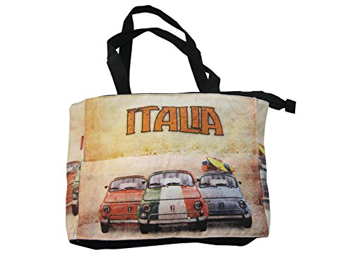 Fabbro Teresa Borsa Piccola SCRITTE COLORATE ITALIA CANVAS C/TASCA AUTO ITALIA CANVAS