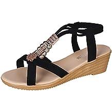 HuaMore, Sandalias De Mujer, Zapatos Comodos Mujer, Estilo Bohemio, con Cuentas,