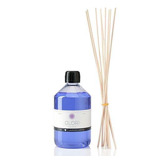 OLORI Refill Raumduft Nachfüllflasche - Lavendel - 500 ml - inklusive 10 Stäbchen - verschiedene Düfte - blumig, krautig Dusche Massage Gold