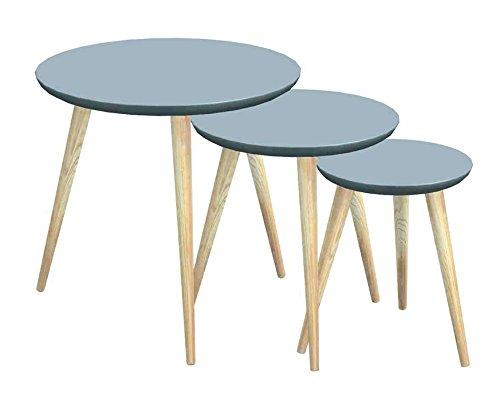 Tosel Maria, Tables gigogne Ronde, Bois Massif, Naturel, 45 x 45 x 45 cm