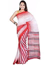 Hawai Cotton Saree (Whs00210_White & Red)