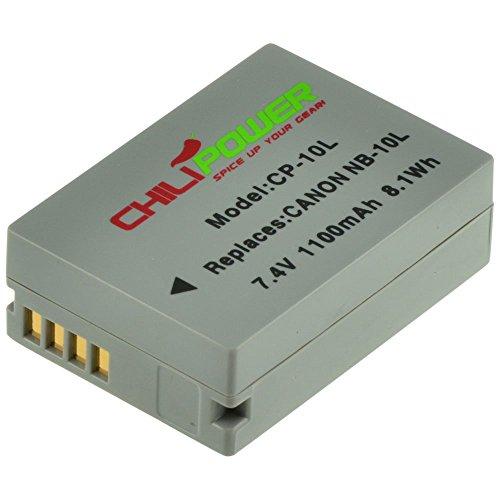 Chili Power NB-10L Batteria per Canon PowerShot G1X, G1X G15, G16, SX40HS, SX50HS, SX40HS, SX50HS, CB 2LC